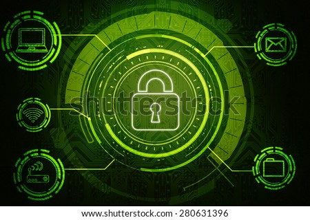 Safety concept: Closed Padlock on digital background - stock photo