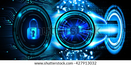 Safety concept: Closed Padlock on digital background, blue abstract light hi speed internet technology. Cyber security concept. Cyber background. Cyber data digital Technology. eye - stock photo