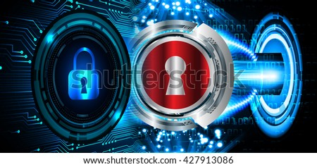 Safety concept: Closed Padlock on digital background, blue abstract light hi speed internet technology. Cyber security concept. Cyber background. Cyber data digital Technology. - stock photo