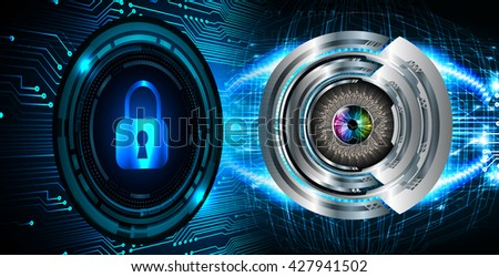 Safety concept: Closed Padlock on digital background, blue abstract light hi speed internet technology. Cyber security concept. Cyber data digital Technology.