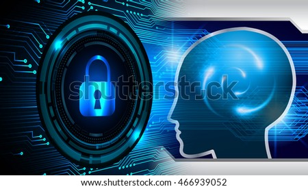 Safety concept, Closed Padlock on digital background, cyber security, Blue abstract hi speed internet technology background illustration. key. Ideas, Brain