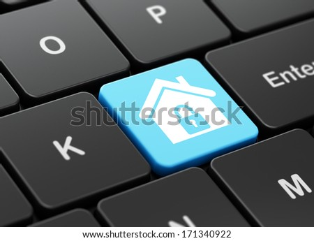 Safety concept: computer keyboard with Home icon on enter button background, 3d render - stock photo