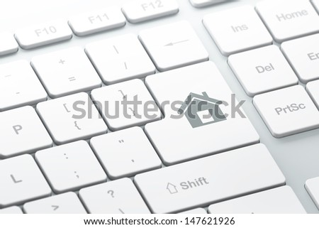 Safety concept: enter button with Home on computer keyboard background, 3d render, selected focus