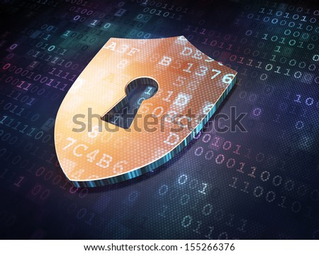 Safety concept: Golden Shield With Keyhole on digital background, 3d render - stock photo