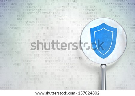 Safety concept: magnifying optical glass with Shield icon on digital background, empty copyspace for card, text, advertising, 3d render - stock photo
