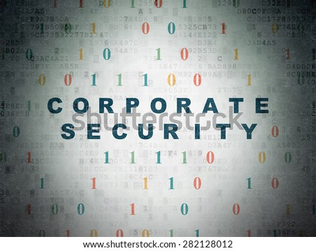 Safety concept: Painted blue text Corporate Security on Digital Paper background with Binary Code, 3d render - stock photo