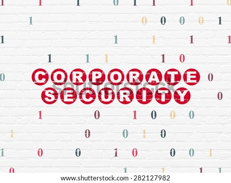 Safety concept: Painted red text Corporate Security on White Brick wall background with Binary Code, 3d render - stock photo