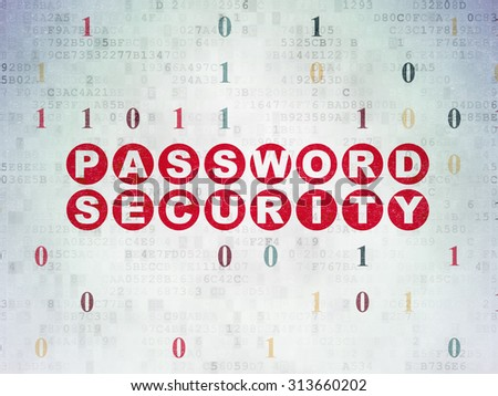 Safety concept: Painted red text Password Security on Digital Paper background with Binary Code - stock photo