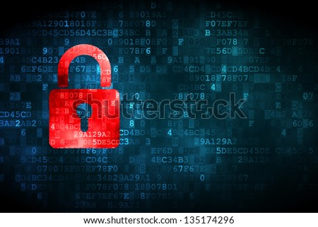 Safety concept: pixelated Closed Padlock icon on digital background, empty copyspace for card, text, advertising - stock photo