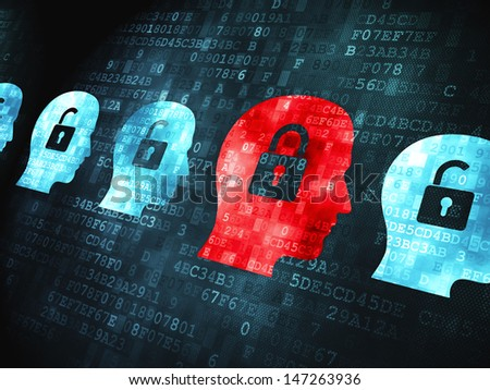Safety concept: pixelated Head Whis Padlock icon on digital background, 3d render