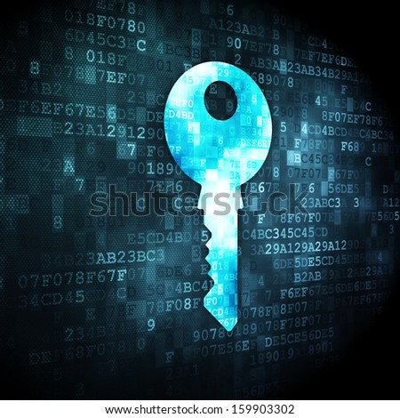 Safety concept: pixelated Key icon on digital background, 3d render - stock photo