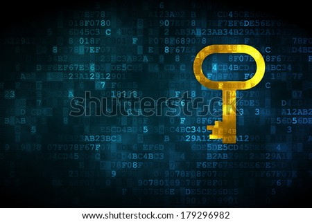 Safety concept: pixelated Key icon on digital background, empty copyspace for card, text, advertising, 3d render - stock photo
