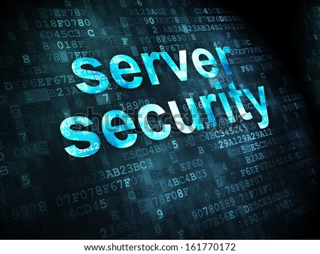 Safety concept: pixelated words Server Security on digital background, 3d render - stock photo