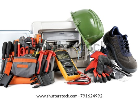 Safety Equipment And Tools For Working On A Residential Electrical Installation Photographed White