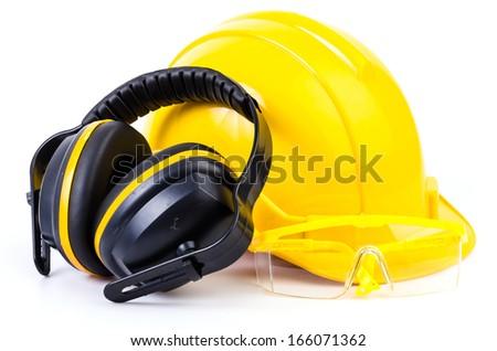 Safety equipment on isolated white background  - stock photo