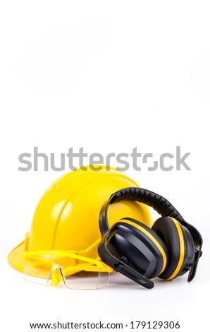 Safety equipment on isolated white background , Safety helmet , ears protection , eyes protection - stock photo