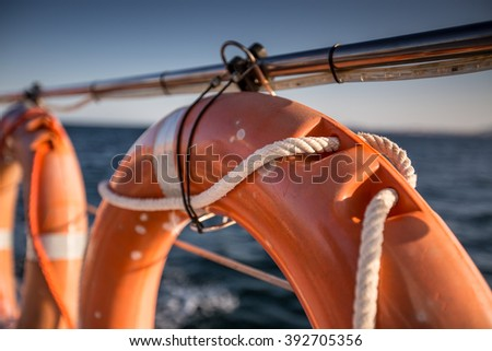 Safety equipment on the boat - stock photo