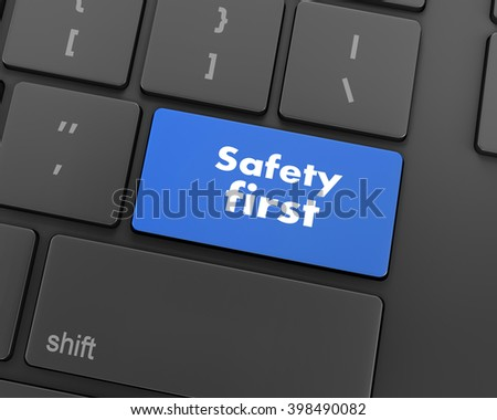 safety first concept with red key on computer keyboard, 3d rendering