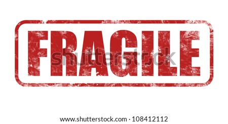 Safety, fragile rubber stamp on white background - stock photo