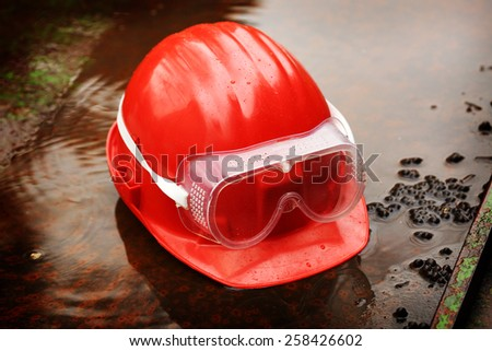 Safety gear  close up on work place - stock photo