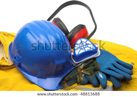 Safety gear kit and tools close up - stock photo