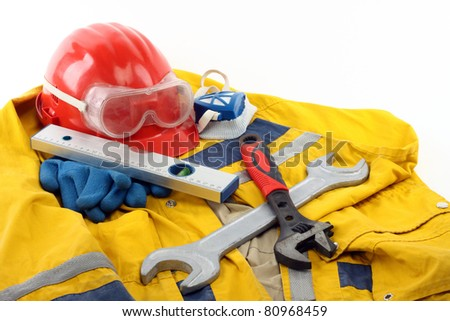 Safety gear kit close up - stock photo