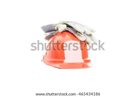 Safety gear kit with helmet and gloves for construction activity isolated on white background