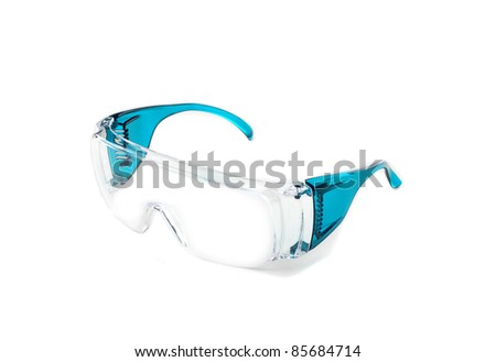 Safety glass isolated white background - stock photo