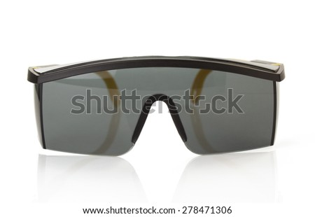 safety glasses isolated on white background - stock photo