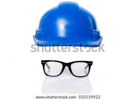 Safety hard hat and safety glasses isolated against white - stock photo