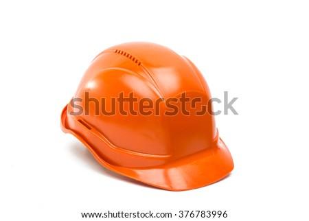 Safety helmet isolated on white background - stock photo
