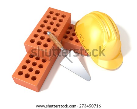 Safety helmet with round perforated bricks and trowel. 3D render illustration, Isolated white background. Top view - stock photo