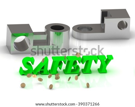 SAFETY- inscription of color letters and silver details on white background  - stock photo