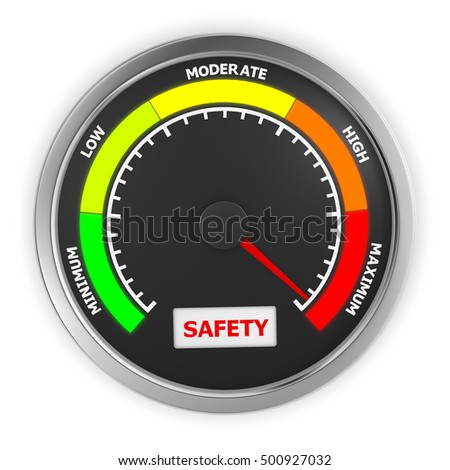 safety level to maximum conceptual meter, 3d rendering