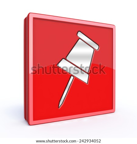 Safety pin square icon on white background - stock photo