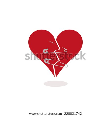 Safety Pins to Keep a Broken Heart Together Concept Illustration. Metaphorically trying to repair a broken heart using two safety pins. The red heart is cracked in half and pierced by two safety pins. - stock photo