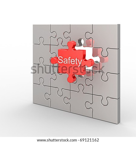 Safety puzzle. White isolated 3d render - stock photo