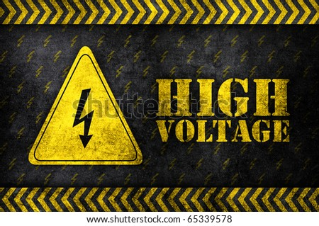 safety sign high voltage in grunge style - stock photo