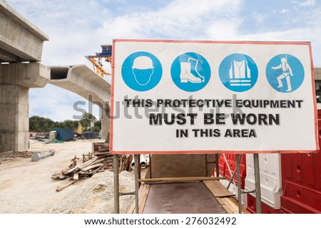 Safety Signage at construction site - stock photo
