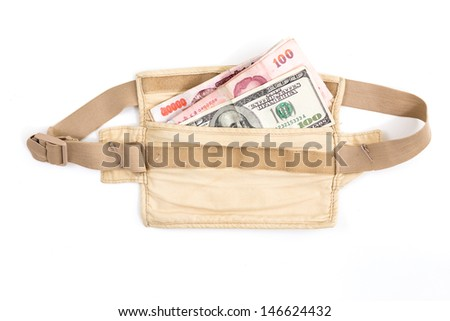 safety waist pouch for traveler - stock photo