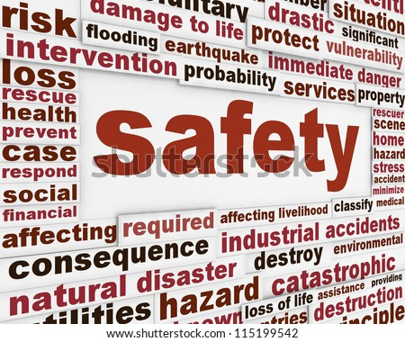 Safety warning message background. Protection poster conceptual design - stock photo