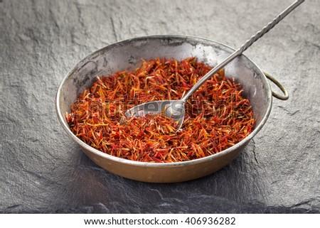Safflower, false saffron, saffron thistle. Carthamus tinctorius. - stock photo