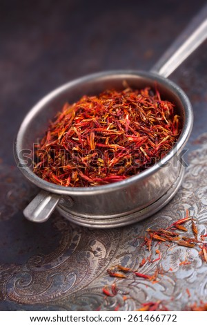 saffron on a metal scoop - stock photo