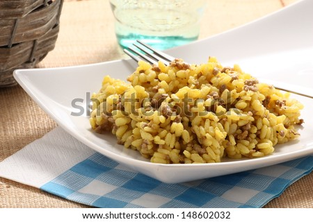 Saffron rice with minced meat