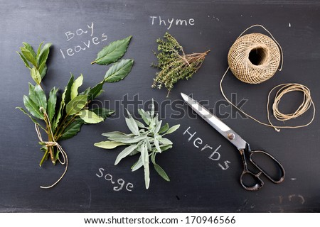 Sage, Thyme and bay leaves on blackboard  - stock photo