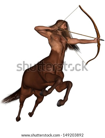 Sagittarius the centaur archer representing the ninth sign of the Zodiac - galloping, 3d digitally rendered illustration - stock photo