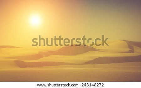Sahara desert. Fantastic evening glowing by sunlight.  Filtered image:cross processed vintage effect. - stock photo