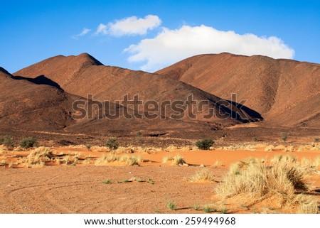 Sahara Desert Hills Landscape Location Morocco Stock Photo - Sahara desert location