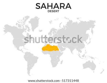 Sahara Desert Location Modern Detailed Map Stock Illustration - Sahara desert location