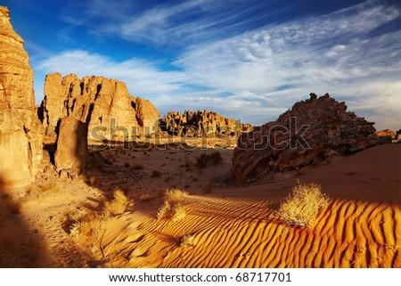 Sahara Desert, Tassili N'Ajjer, Algeria - stock photo